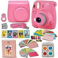Fujifilm Instax Mini 9 Instant Fuji Camera (Flamingo Pink) + Paquete de accesorios + Estuche a juego personalizado con correa para el cuello + Álbum de fotos + Marcos variados + 4 Filtros de color + 60 Marcos adhesivos + Más