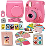 Fujifilm Instax Mini 9 Instant Fuji Camera (FLAMINGO PINK) + Accessories Bundle + Custom Matching Case w/Neck Strap + Photo Album + Assorted Frames + 4 Color Filters + 60 Sticker Frames + MORE