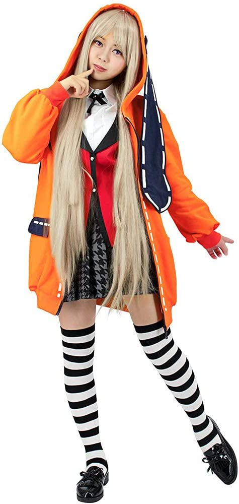 Anime Kakegurui Yomoduki Runa Long Hooded Coat Cosplay Costumes Halloween Women