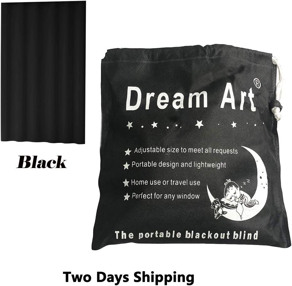 Dream Art Anywhere Portable Blackout Curtain/Adjustable Blackout Shades/Temporary Blackout Blinds with Suction Cups for Nursery,Children Kids Bedroom or Travel Use,Black,1 pc W52xL72Inch(132X183cm)
