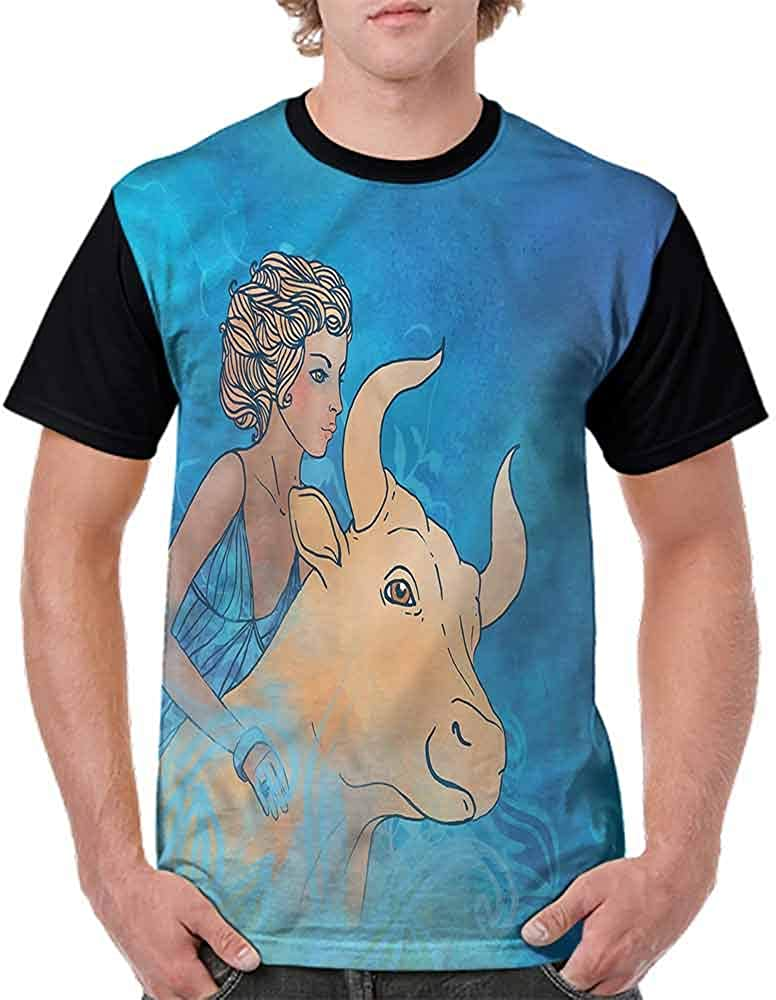 Fashion T-Shirt,Zodiac Icons in Blue Fashion Personality Customization