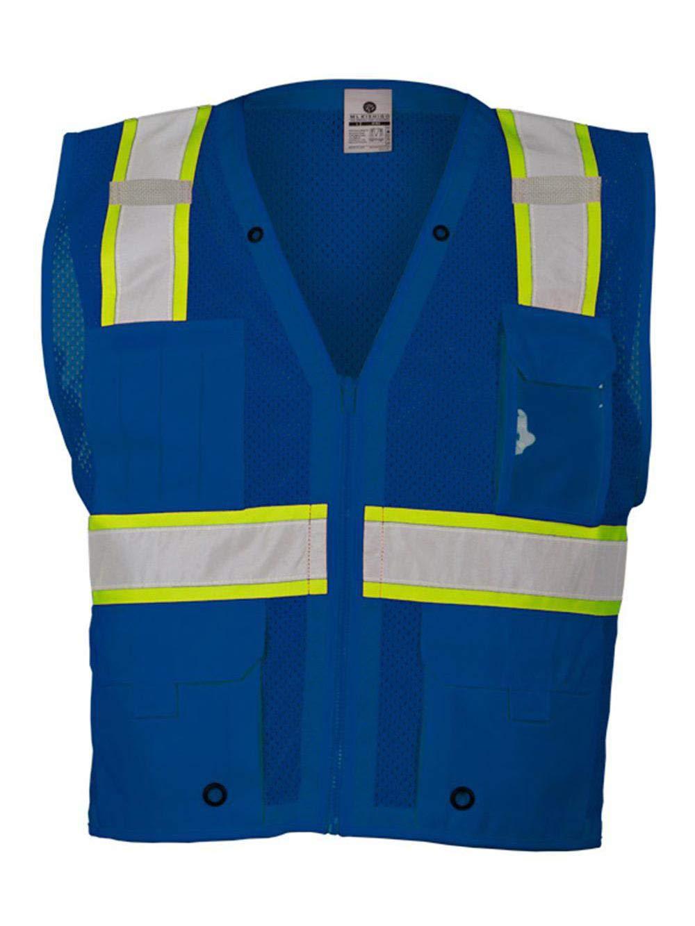 ML Kishigo Men's Enhanced Visibility Multi-Pocket Mesh Vest - Royal Blue, 2XL/3XL, Model Number B102-2X-3X by ML Kishigo
