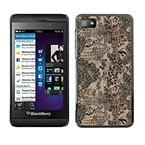 MOBMART Carcasa Funda Case Cover Armor Shell PARA Blackberry Z10 - Stitched Gray Floral Path