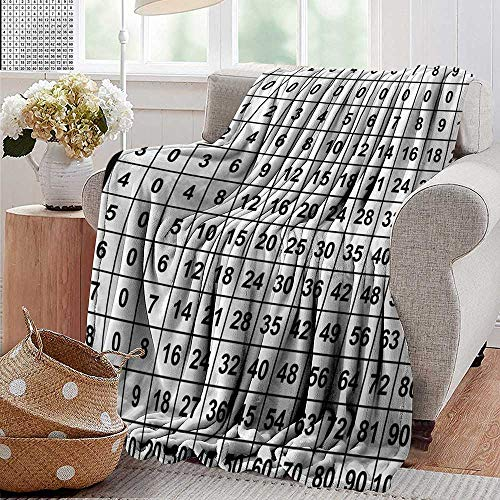 Bed Blanket,Mathematics Classroom Decor,Multiplication Table in Black and White Education Learning,Black White,for Bed & Couch Sofa Easy Care 30