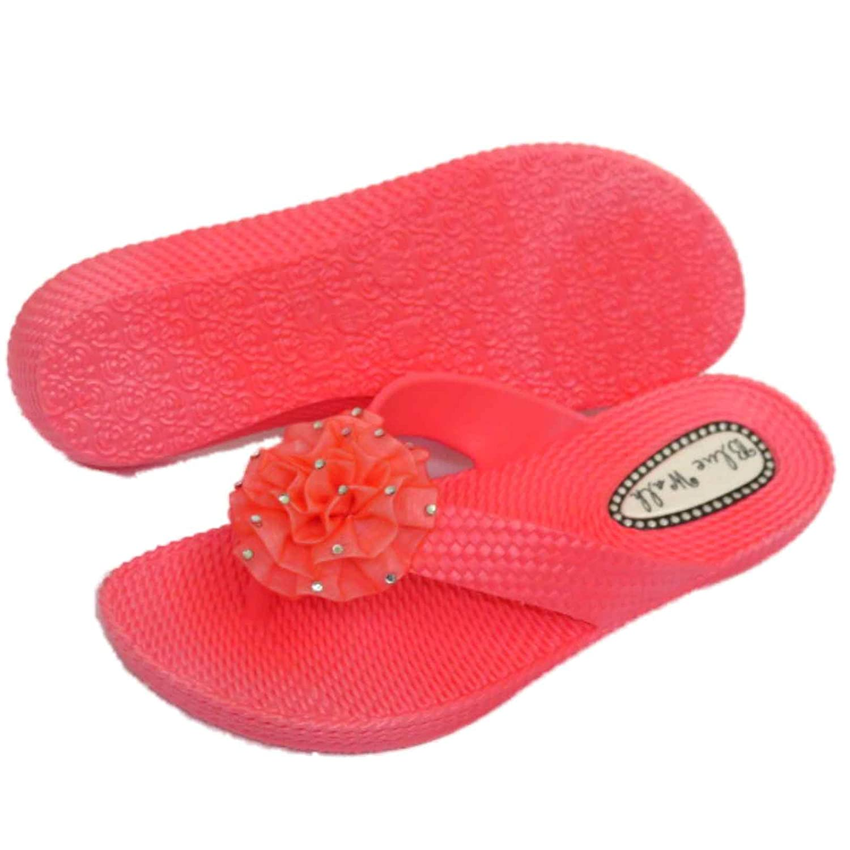 Damen Flach Korallenrot Zehensteg Riemen Sandalen Flip Flop Strand Blume Keilabsatz Schuhe Größen 3-8 - Koralle, EU 37