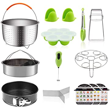 15 Pcs Pressure Cooker Accessories Compatible with 6,8 qt Instant Pot-Milk Frother, Springform Pan, 2 Steamer Baskets, Oven Mitts, Egg Steamer, Egg Bites Mold, Kitchen Tongs, Dish Plate Clip
