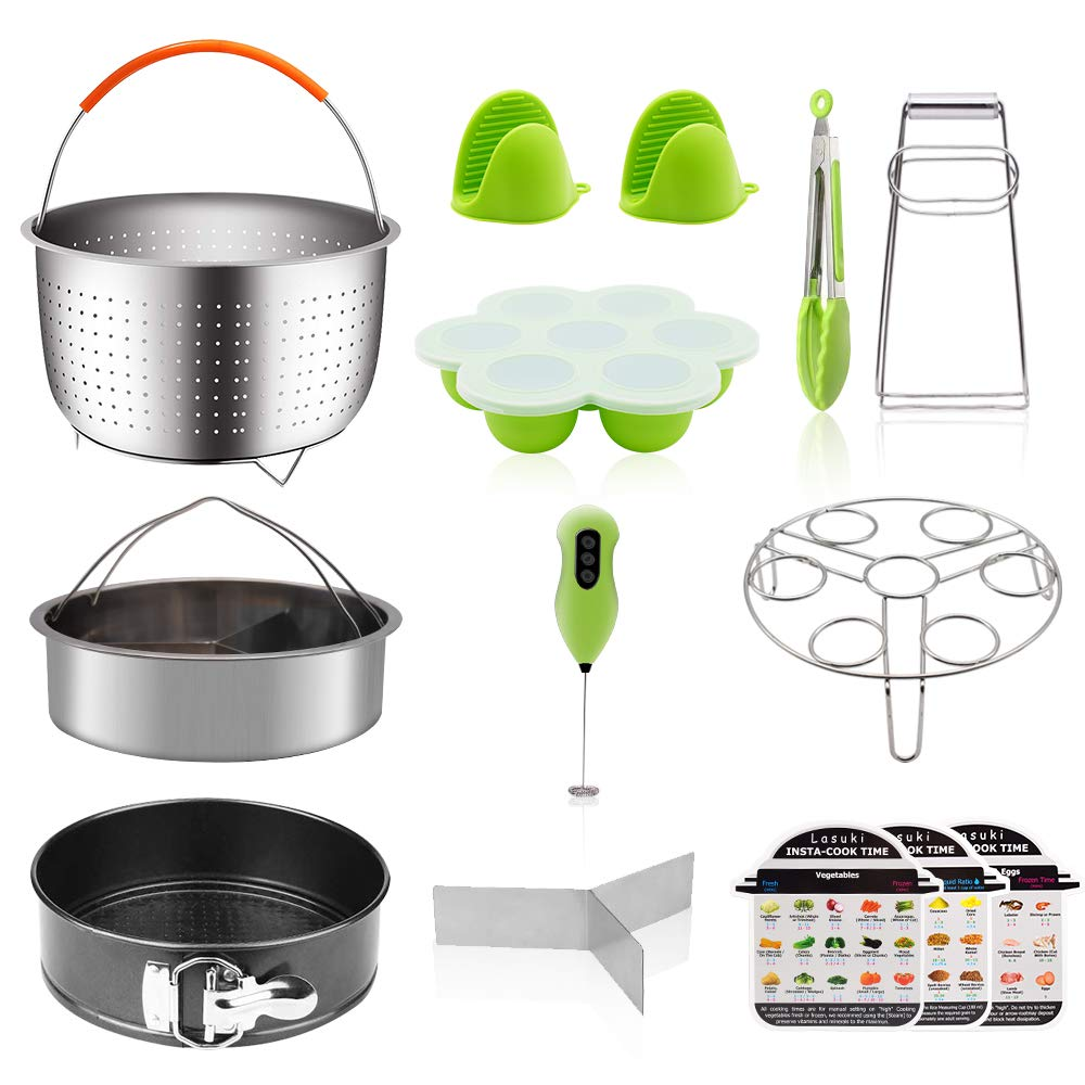 Instant Pot Accessories,15 Pcs Instant Pot Accessories 6,8 qt with Milk Frother, Springform Pan, 2 Steamer Baskets, Oven Mitts, Egg Steamer, Egg Bites Mold for Instant Pot, Kitchen Tongs
