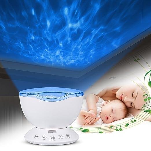 Topist Ocean - Proyector de luz nocturna con mando a distancia, diseño de océano, lámpara nocturna con 12 ledes, MP3 integrado, altavoz, 7 modos de ...