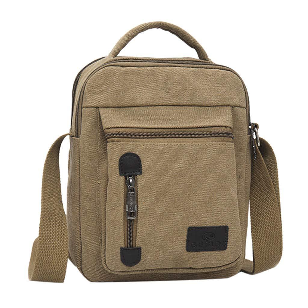 Shmei Casual Men's Fashion Canvas Solid Color Business Shoulder Bag Messenger Bags (Khaki)