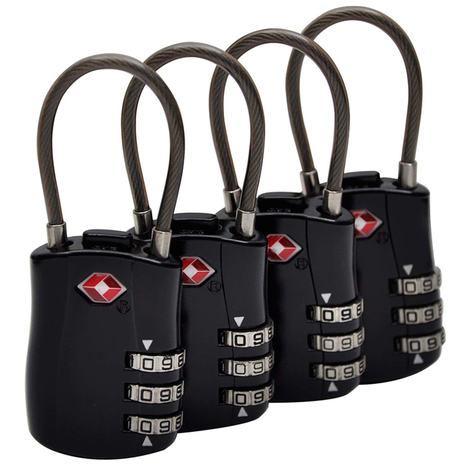 Luggage Locks Tsa Approved Travel Suitcase Combination Padlock by 3 Digit Combination Added Security(4 black)