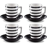Zeller 26561Juego de café, Loza, Negro/Blanco, 35.79X 20.39X