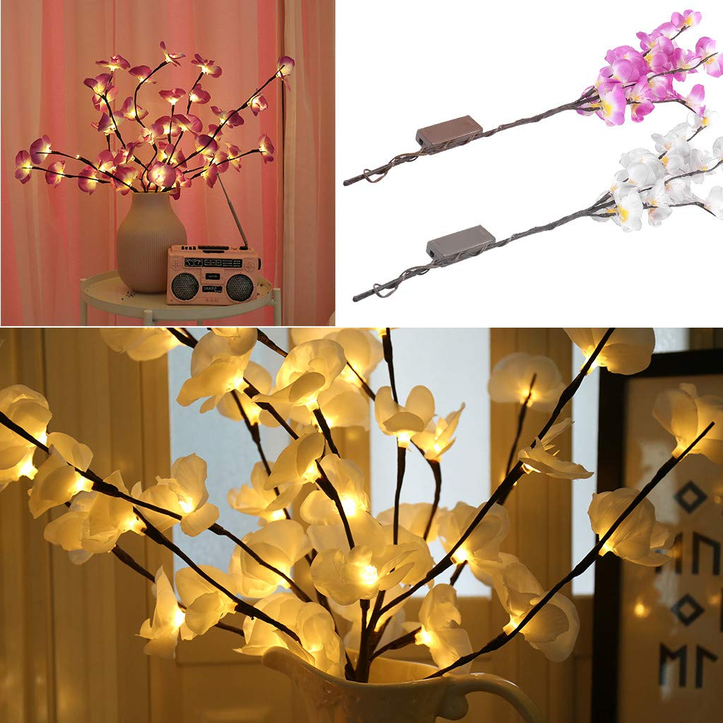 Battery Operated Phalaenopsis Pot with 20 Lights Kiply LED Lighted Artificial Phalaenopsis Tree Branch Light