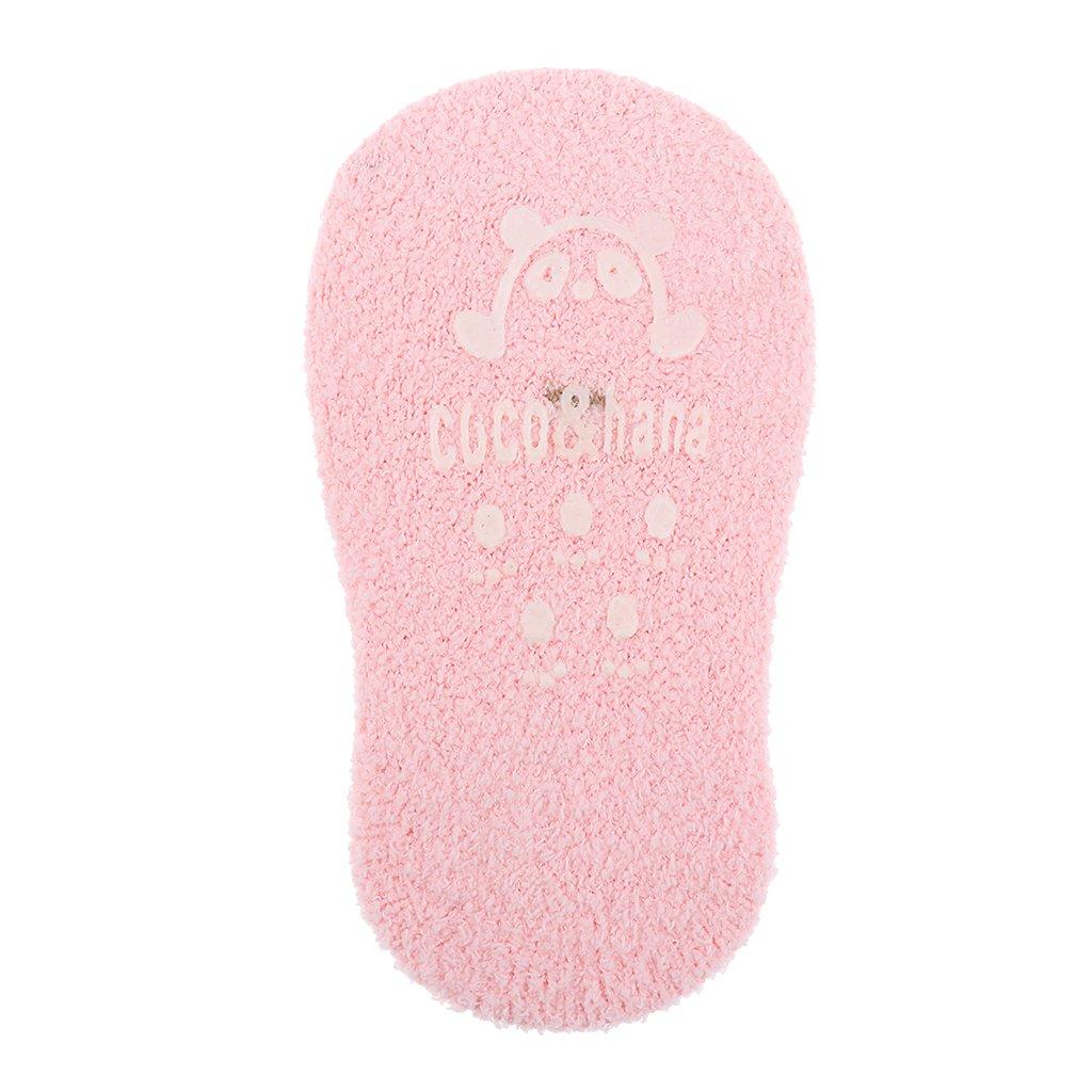 MonkeyJack 2pcs Kids Boys Girls 0-2T Anti-Slip Sleep Ankle Warm Slippers Crib Socks