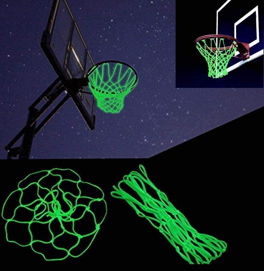 LtytyJ Outdoor Basketball Rim Net Glow in The Dark Portable Sun Powered Nylon Glowing Basketball Net Anti Whip Heavy Duty 12 Loops Standard Size Gift for Kids Outdoor Sports Pool School