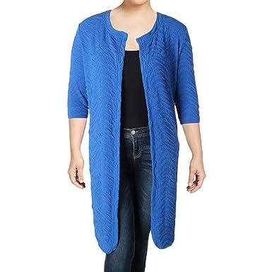 d7da7fd6be Junarose New Womens Blue 3 4 Sleeve Structered Cardigan Duster 0X BHFO 8128