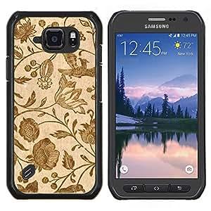 """Be-Star Único Patrón Plástico Duro Fundas Cover Cubre Hard Case Cover Para Samsung Galaxy S6 active / SM-G890 (NOT S6) ( Papel pintado retro de la vendimia floral de las floraciones de Brown"""" )"""