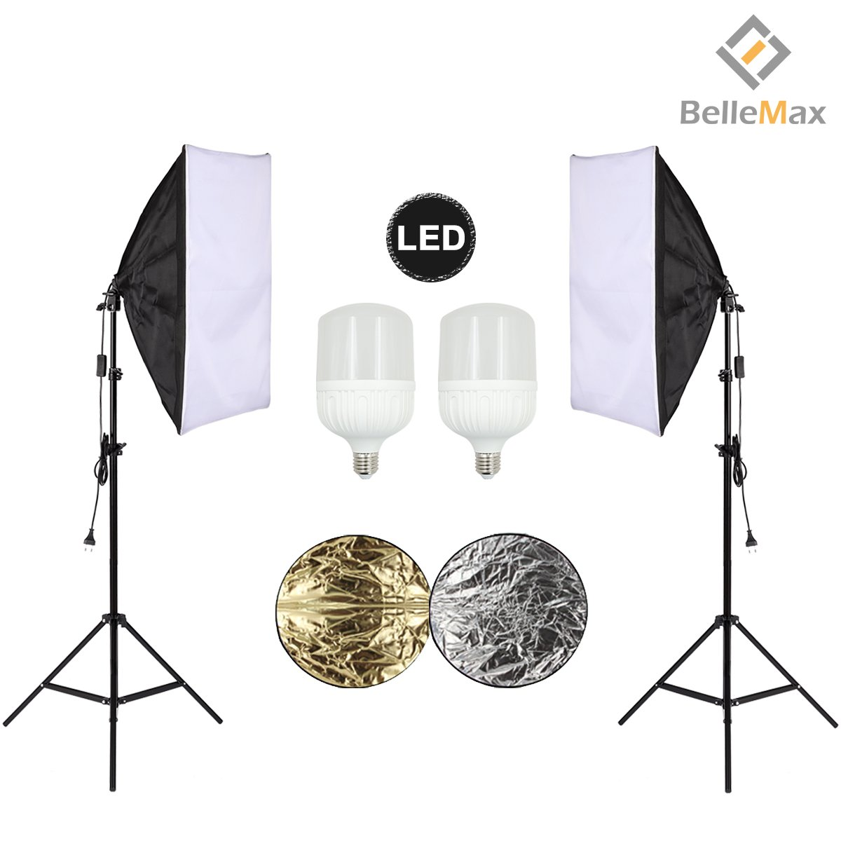 Belle Max (2)20''x28''Photography Softbox Lighting Kit Photo Studio Equipment,Including (2) 28W LED Bulbs,(1)24'' 2-in-1Reflector, Ideal for any vlog, portrait, costume and object photography by Belle Max (Image #1)