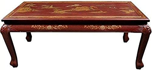 Oriental Furniture Claw Foot Coffee Table – Red Landscape