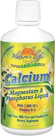 Nature's Life Calcium Magnesium Phosphorus Liquid Supplement with Vitamin D3, Super Absorbeeze, Vanilla   Bone Strength & Cardiovascular Health   32oz