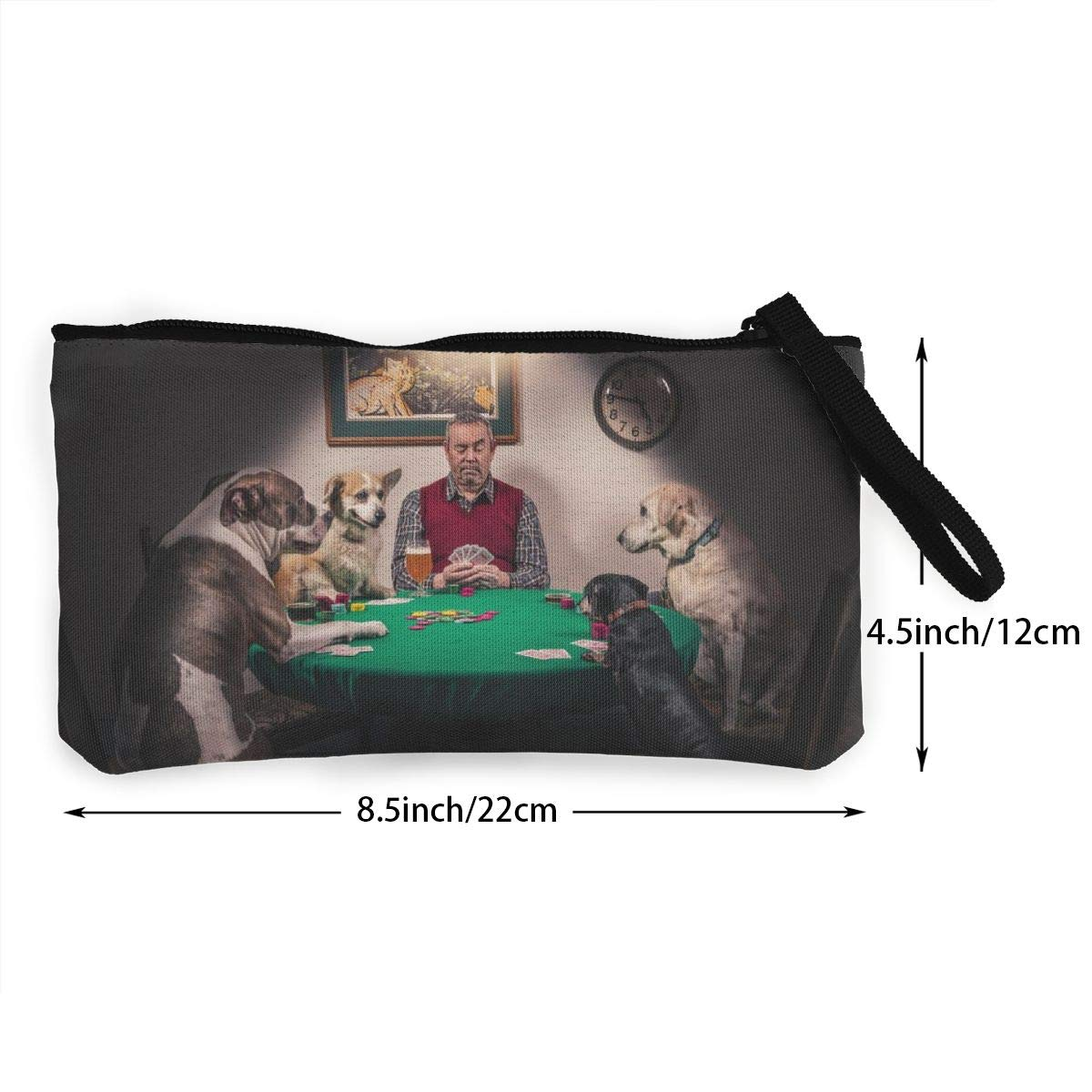Man /& Dogs Playing Cards Zipper Canvas Coin Purse Wallet Make Up Bag,Cellphone Bag With Handle