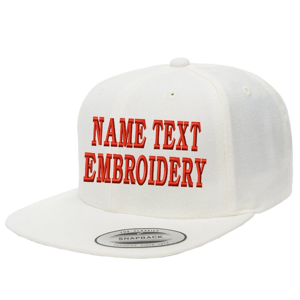 0b5faf39eb748 Yupoong Snapback Hat Custom Flat Embroidery Cap Personalized Name Text Flat  Bill Wool - White