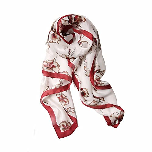 yall Señoras Elegante Bufandas Rose Imprime Viajar Mantones, Rojo, 90*180 Cm.