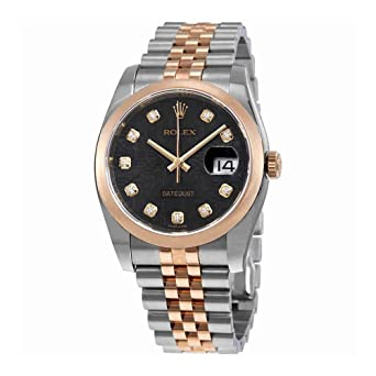 1887d7adbfd9 Image Unavailable. Image not available for. Color  Rolex Oyster Perpetual  Datejust 36 Black Dial Stainless Steel and 18K Everose Gold Jubilee Bracelet  ...