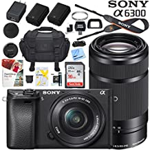 Sony a6300 4K Mirrorless Camera ILCE-6300L/B with 16-50mm & 55-210mm Lens (Black) with Case Extra Battery Memory Card Pro Photograpy Bundle