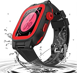 Waterproof Case for Apple Watch Series 6/5/4/SE 44mm, iWatch Protective case + Soft Watch Band + Built-in Screen Protector, Full Body Shockproof Anti-Scratch Rugged Protective Case (Red, 44mm)
