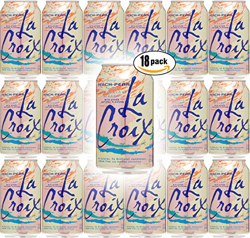 La Croix Peach-Pear Naturally Essenced Flavored Sparkling Water, 12 oz Can (Pack of 18, Total of 216 Oz)