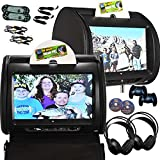 2X Autotain Hero-Y 9 inch Digital Touch Screen Car TV Headrest DVD Player Monitor Black