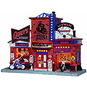 Lemax 25383 GORDY'S CYCLE SHOP Christmas Village Building Gordys Motorcycle S