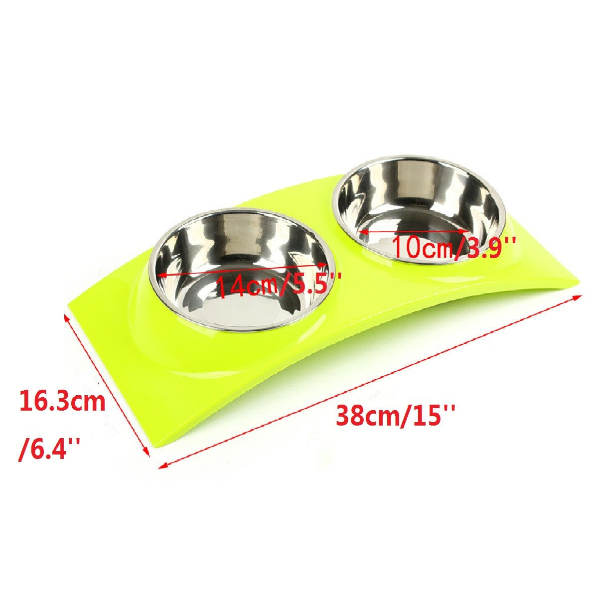Food Dish Water Feeder Pet Cat Puppy Dog Bowel Stainless Steel Double Bowels Anti-skid Pet Bowel Yellow