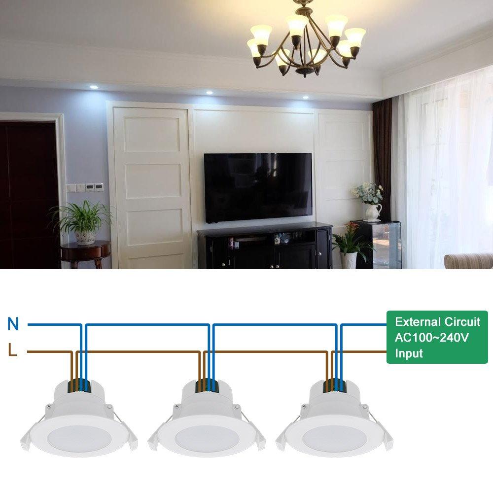 Luminaria Foco Plafon LED Downlight Empotrable en Techo 8W Luz Fria 5000K AC100~240V 70-85MM Diámetro de Instalación IP44 para Cocina Baño Salon Lot de 1 de ...