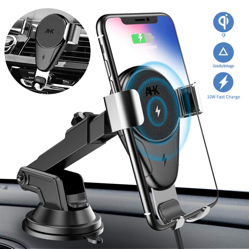 AHK Wireless Charger Car Phone Mount Gravity Windshield Dashboard Air Vent Phone Holder for iPhone Xs Max/XS/XR/X/8Plus/8 and for Samsung S9/S9+/S8/S8+/Note9/Note8 & Other Qi Enabled Phones, Silver by AHK