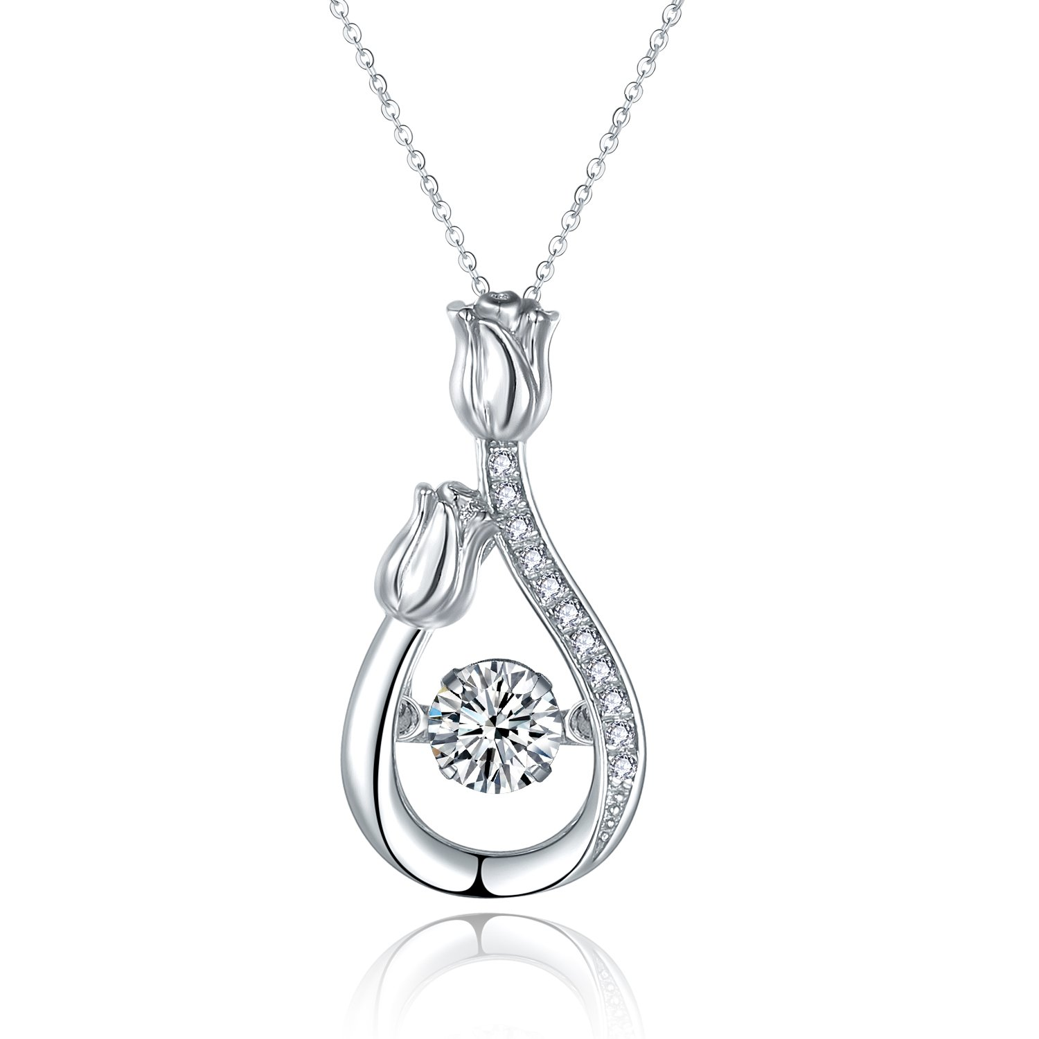 jiamiaoi 925 Sterling Silver Necklace for Women with Dancing Zircon Romantic Rose Pendant Dancing Necklace Jewelry Great Gift Idea for Women