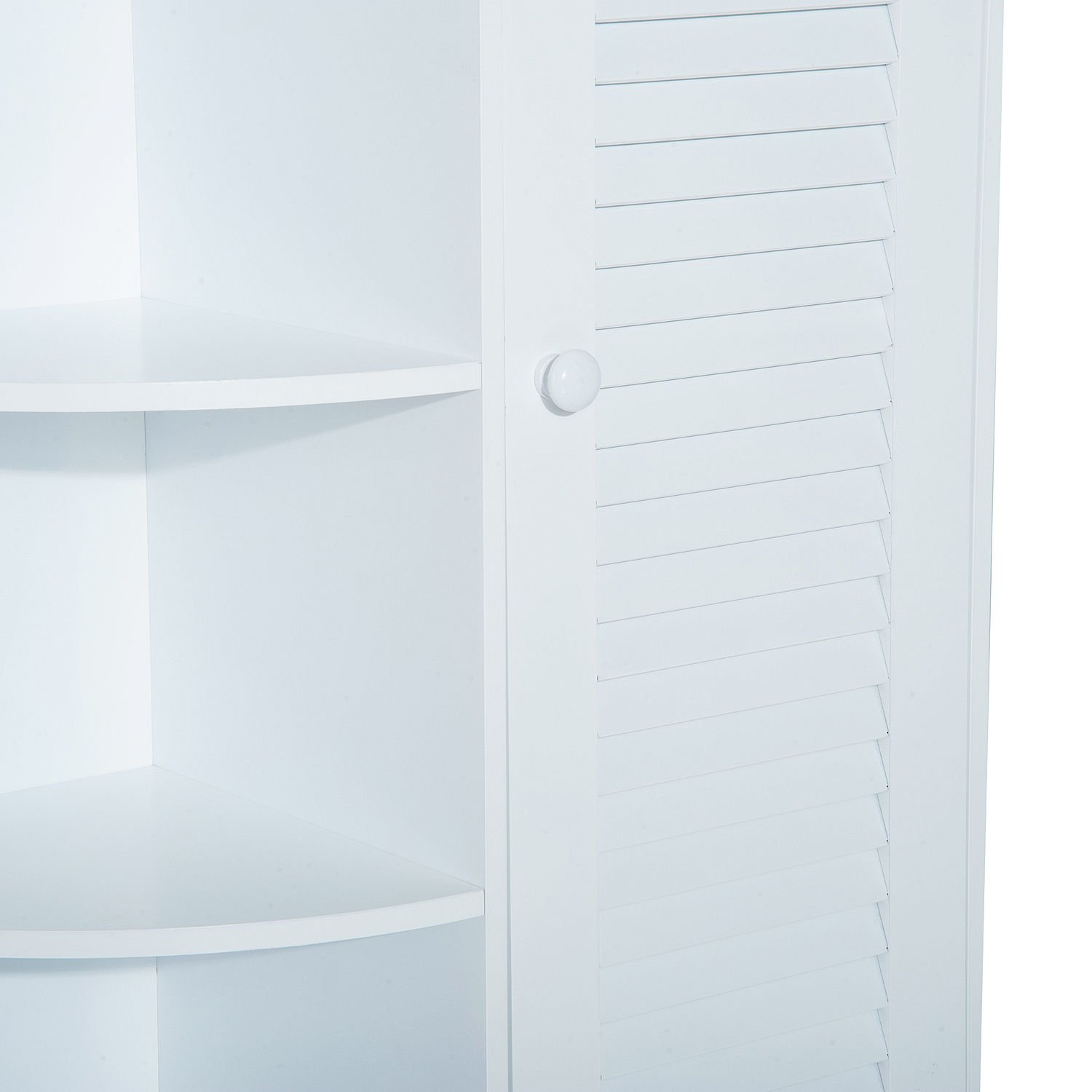 """HOMCOM 32"""" Modern Country Free Standing Bathroom Cabinet Cupboard with Rounded Shelves - White by HOMCOM (Image #4)"""