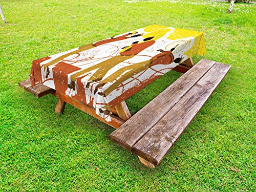Ambesonne Music Outdoor Tablecloth, Band with Trumpet Tuba and Bass Drum Player Grunge Background, Decorative Washable Picnic Table Cloth, 58
