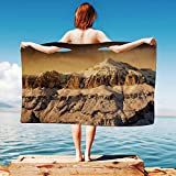 iPrint Farmhouse-Decor Quick Dry Plush Microfiber (Towel+Square scarf+Bath towel) Surreal-Saturated-Photo-of-Italian-Twin-Mountain-Peaks-with-Silent-Overcast-Sky And Adapt to any place