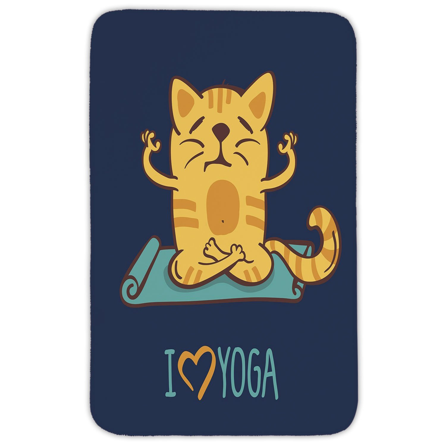 Rectangular Area Rug Mat Rug,Animal,I Love Yoga Theme Cute Cartoon Cat Exercise Mat Lotus Position,Dark Blue Light Blue Yellow,Home Decor Mat with Non Slip Backing