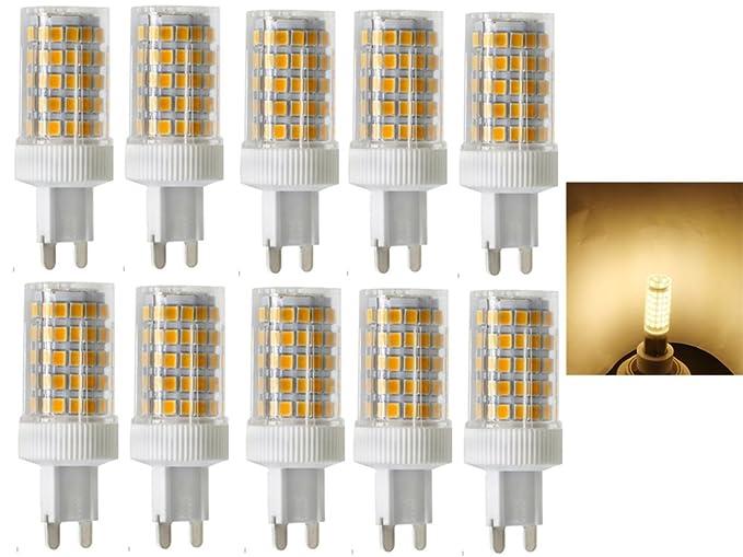 10x G9 Bombillas LED 10W equivalentes a Lámparas halógenas de 80W,Blanco cálido 3000K,