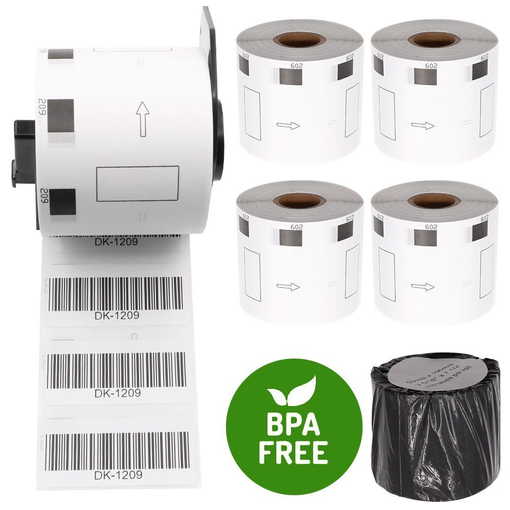 6 Rolls Compatible Brother DK-1209 Small Address Envelopes Paper Labels Roll(800 Labels/Roll) 1.1 in x 2.4 in (28.9 mm x 62 mm) with One Refillable Cartridge for QL-500 QL-570