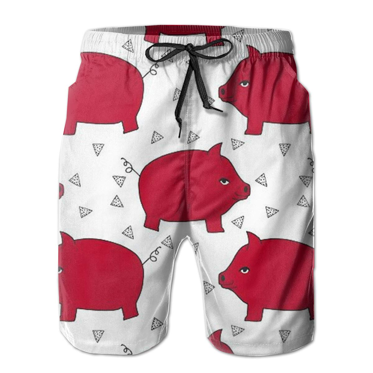 TR2YU7YT Red Pig Piggy Bank Casual Mens Swim Trunks Quick Dry Printed Beach Shorts Summer Boardshorts Bathing Suits with Mesh Lining