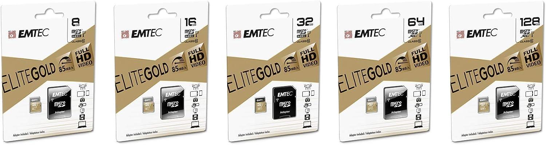 Emtec ECMSDM64GXC10 EliteGold 64GB microSDXC Speicherkarte U1 Highspeed SD-Adapter UHS-I bis 85 MB//Sek