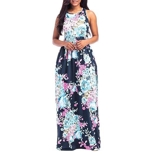2bed395cc08 Clearance! OOEOO Women Sundress Beach Sleeveless Floral Print Maxi Dress  with Pockets (Dark Blue