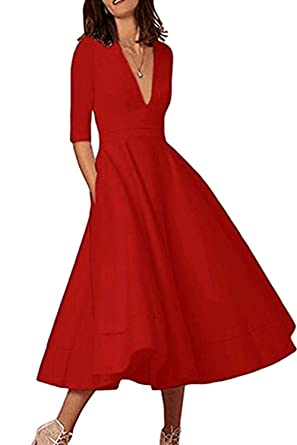 de06c1cf8825a Happy Sailed Women Solid V Neck Keen Length Half Sleeve Casual High Waist  Slim Flared Dress
