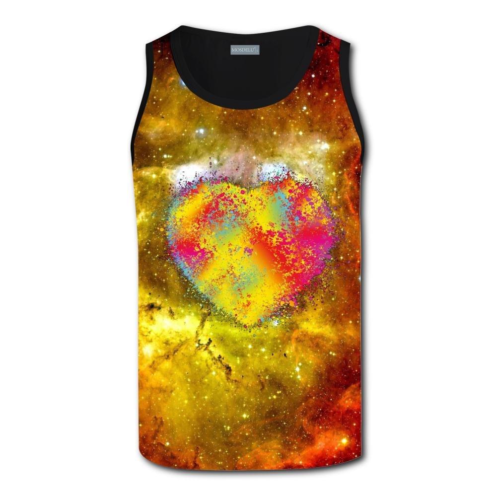 Aslgisy Splashed Paint Heart Mens Breathable Vest
