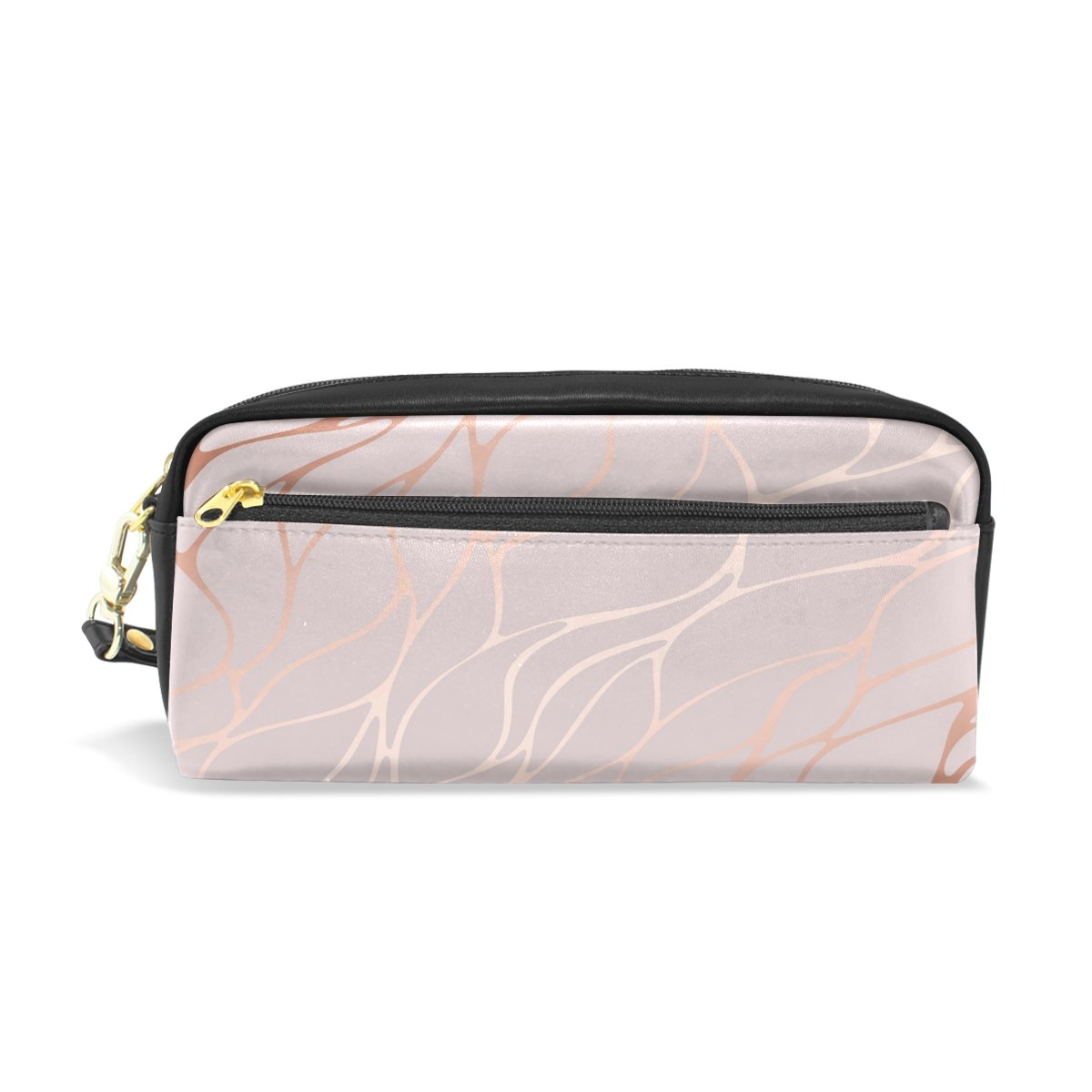 ALAZA Pink Rose Marble Pencil Case Zipper PU Leather Cosmetic Makeup Bag Multifunction Pen Stationery Pouch Bag Large Capacity