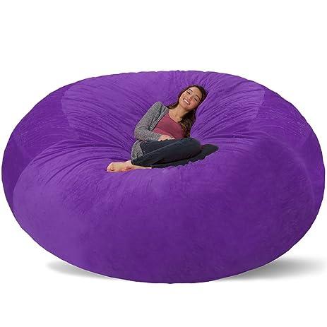 Comfy Sacks 8 Ft Memory Foam Bean Bag Chair, Purple Furry