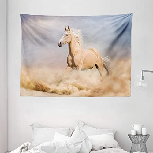 Ambesonne Horses Tapestry, Palomino Horse in Sand Desert with Long Blond Male Hair Power Wild Animal, Wide Wall Hanging for Bedroom Living Room Dorm, 80 X 60 , Purple Grey
